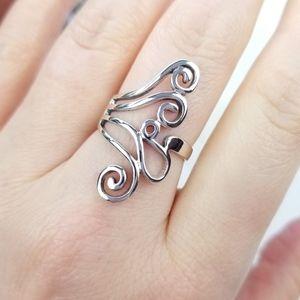 {Ocean Spirit Ring}.925 Sterling Silver Swirl
